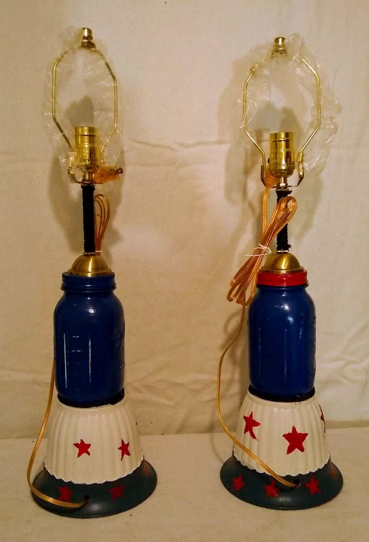 red,white& blue mason jar lamp set