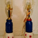 red,white& blue mason jar lamp set