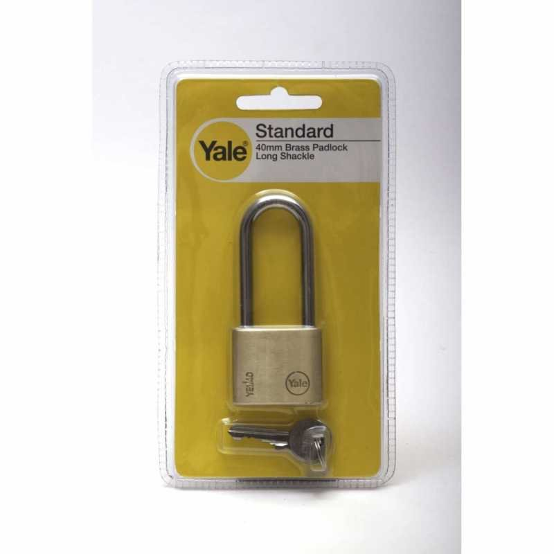 Yale Essential 40mm Brass Padlock (Long Ring)