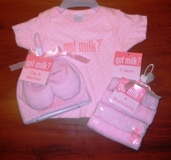 Got Milk Size 3-6 Months Medium Pink Girl Baby T-Shirt 4 Washcloths Cap Booties