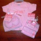 Got Milk Size 3-6 Months Medium Pink Girl Baby T-Shirt 4 Washcloths Cap Booties