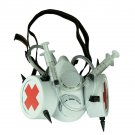 White Bio-Hazard Nurse Gas Mask with Medical Syringes and Spikes One Size Fits Most Adults