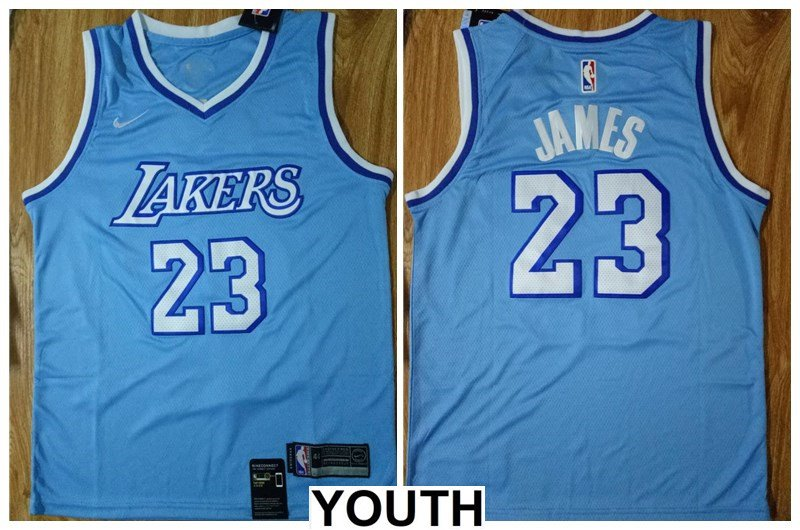 Youth,kids Los Angeles Lakers #23 LeBron James Jersey light blue ...