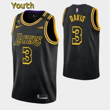 Youth,kids Los Angeles Lakers #3 Anthony Davis Jersey Black ...
