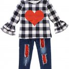 Black White Heart Ruffle Top with Jeans Set