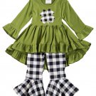 Clover Olive Tunic with Checkered Bell Pants Set