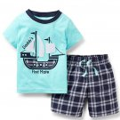 Boys Plaid Short Shirt Set