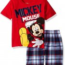 Disney Toddler Boys Mickey Mouse Plaid Short Set with T-Shirt