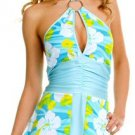 Halter Retro Print Flower Dress with Ring Buckle and Keyhole Design - New