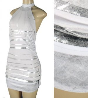 Vanity - Junior High Neck Halter Dress with Silver Stripe Pattern - New
