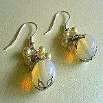 Pearly Opalised Glass Earrings