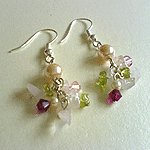 Rose Quartz with Crystals Earrings - Rose Garden