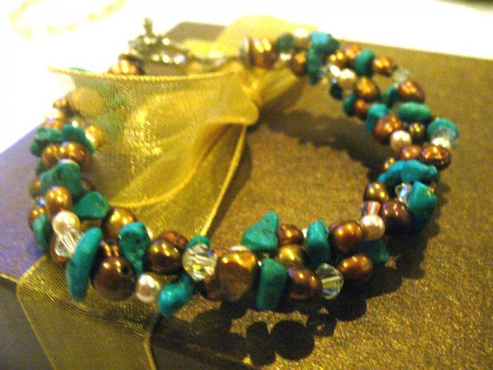 Bracelet finely handcrafted - Turquoise Pearly beauty