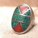 Sterling Silver Crushed Red & Blue Turquoise Mosaic Pattern Mens Ring Size 10.75