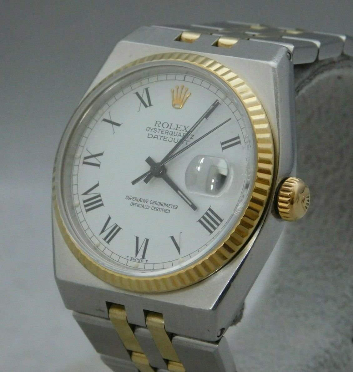 Rolex Oysterquartz Datejust 17013 18k Solid Gold & Stainless Steel Mens Watch