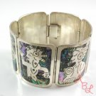 Abalone Bracelet Mexican Southwest .925 Sterling Silver Inlay....8""