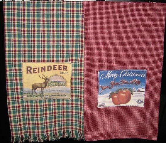 Christmas Towels w/label applique E-Pattern EC