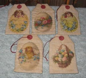 Printed Fabric Easter Tags E-Pattern EC