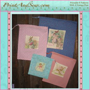 Easter Gift Bags with Printable Vintage Images EC