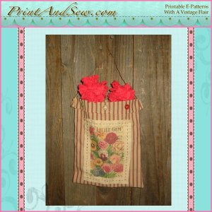 Ticking Seedbag with Carnations EC