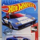 2019 Hot Wheels Lamborghini Countach Police Car 142/250 - HW RESCUE 2/10 BLUE MOC