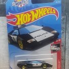 2019 Hot Wheels Lamborghini Countach Police Car 142/250 - HW RESCUE 2/10 BLACK MOC