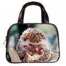 Black Designer 100% Leather HEDGEHOG Handbag Purse #19375482