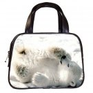 Black Designer 100% Leather BABY POLAR BEAR Handbag Purse #19375487