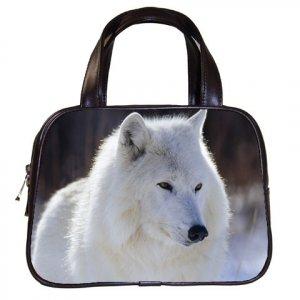 Black Designer 100% Leather WHITE WOLF Handbag Purse #19375489