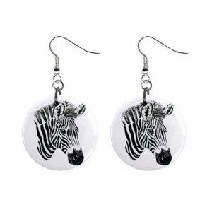 """Zebra Head 1"""" Round Button Dangle Earrings Jewelry 12894084"""
