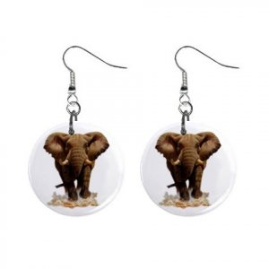 """Charging Elephant 1"""" Round Button Dangle Earrings Jewelry 13004380"""
