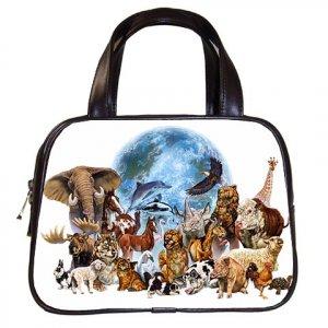 Black Designer 100% Leather  Wild Animals Handbag Purse 19473650