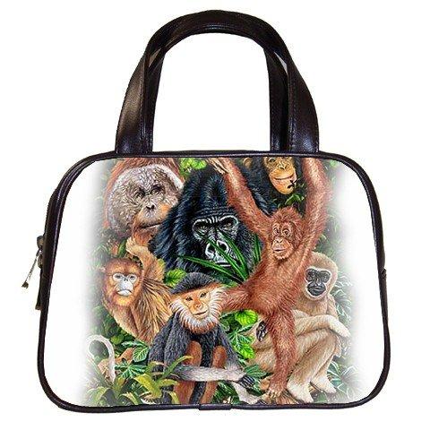 Wild Animals Black Designer 100% Leather Handbag Purse Apes Monkeys 19473730