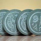 Kokopelli designed hand carved green stone coaster set
