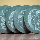 Gingko tree symbol designed green stone coaster set