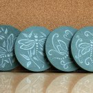 Dragonflies designed green Slate stone drink coaster set