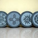 American Native sun symbol carved stone drink coasters