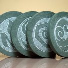 The four elements, green Slate drink coaster set