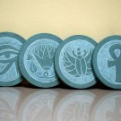 Ancient Egyptian symbols, hand carved coasters