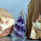 Translucent purple crystal, Chevron Amethyst necklace