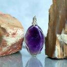 Amethyst natural crystal, deep purple, oval shape pendant