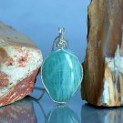 Natural green crystal, silver wrapped Aquamarine pendant