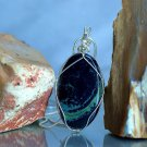 Austral specimen, blue mineral, silver wire wrapped Vivianite pendant