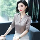female 2019loose V-neck half-sleeve satin shirt mulberry silk shirt