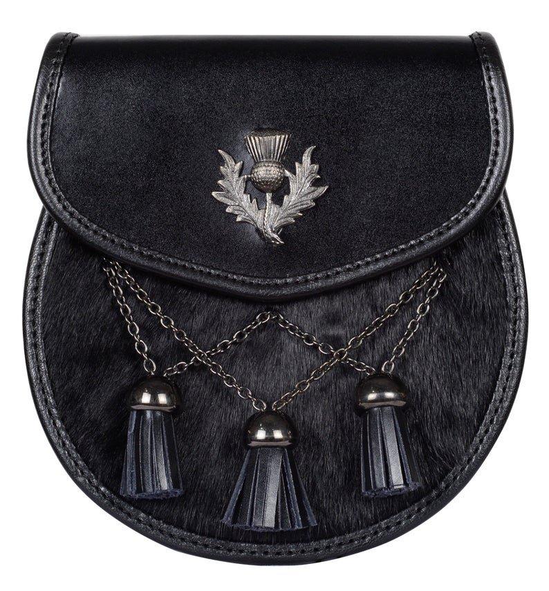 New Semi Dress Black Leather Sporran with Thistle Emblem and Cross Tassels