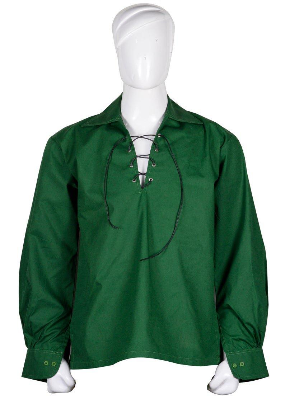 2XL size Hand  Made 100% Cotton Traditional Scottish Style Jacobean Jacobite Ghillie Kilt Shirt