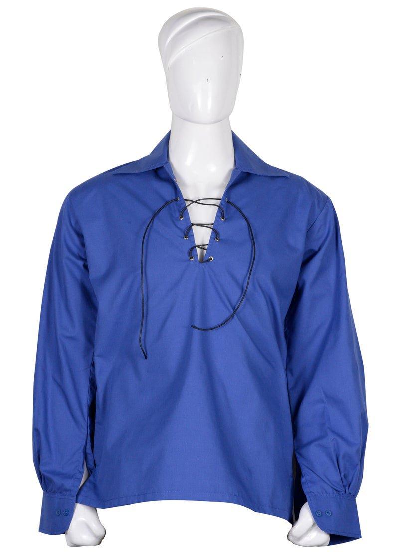 L size Hand Made 100% Cotton Traditional Scottish Style Jacobean Jacobite Ghillie Kilt Shirt