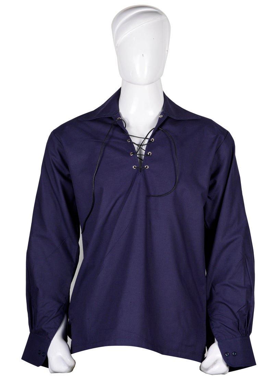 XL  size Hand Made 100% Cotton Traditional Scottish Style Jacobean Jacobite Ghillie Kilt Shirt