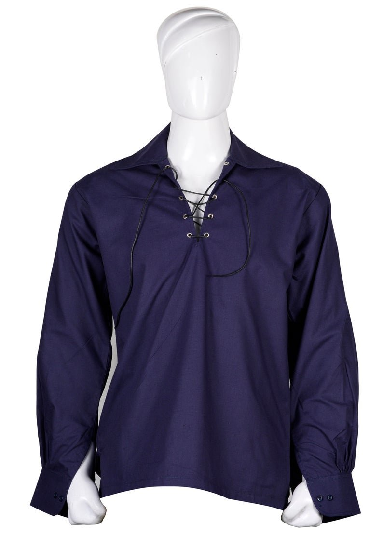4XL  size Hand Made 100% Cotton Traditional Scottish Style Jacobean Jacobite Ghillie Kilt Shirt