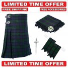 30 size black watch Men's Scottish Traditional Tartan Kilt and Accessories Package